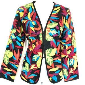 CHICO'S 100% Silk Embroidered Suit Jacket Blazer 0